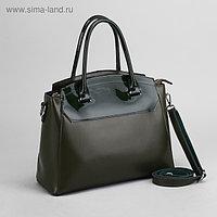 Сумка женская, отдел с перегородкой на молнии, наружный карман, длинный ремень, цвет зелёный