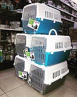 Переноска для животных, 48 х 32 х 30 см, бело-голубой