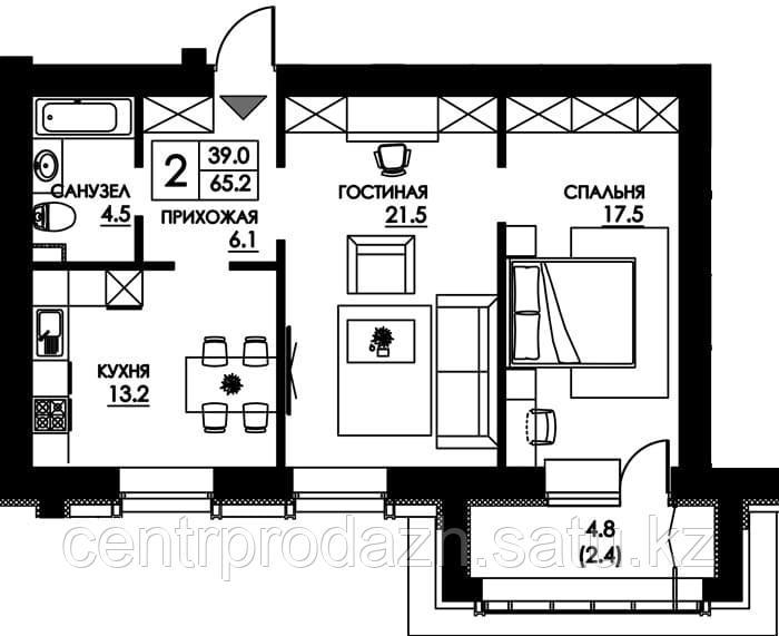 2 комнатная квартира в ЖК Paris 65.1 м²