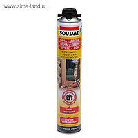 Пена монтажная Soudal, пистолетная, желтая, летняя, 750 мл