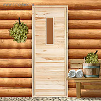 """Дверь для бани со стеклом """"Прямое стекло"""", 160×70см, ПРОМО"""