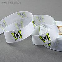 Лента репсовая «Бабочки», 25 мм, 22 ± 1 м, цвет белый/жёлтый №001