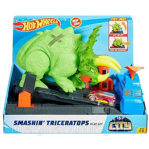 Mattel Hot Wheels трек «Разгневанный динозавр трицератопс» Хот Вилс