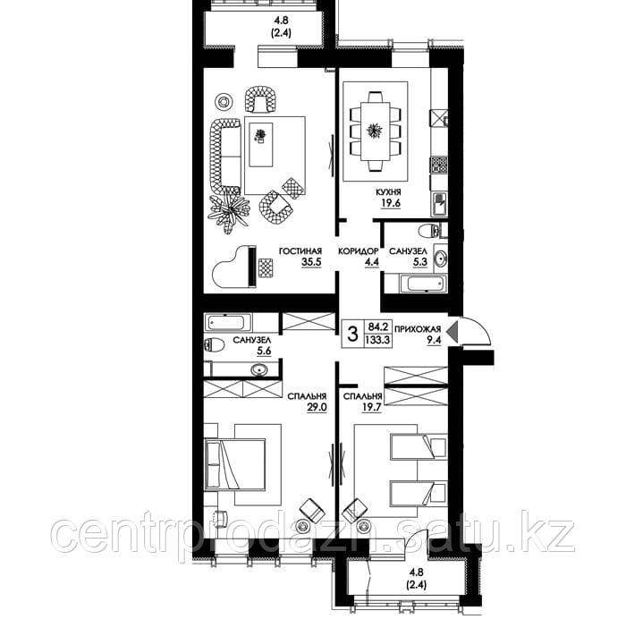 3 комнатная квартира в ЖК Paris 133.3 м²