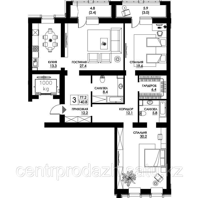 4 комнатная квартира в ЖК Paris 140.6 м²