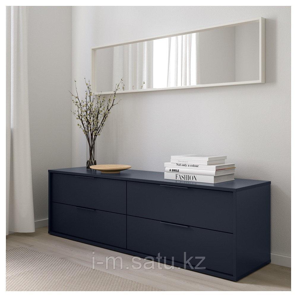 НОРДМЕЛА Комод с 4 ящиками, черно-синий, 159x50 см