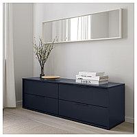 НОРДМЕЛА Комод с 4 ящиками, черно-синий, 159x50 см, фото 1