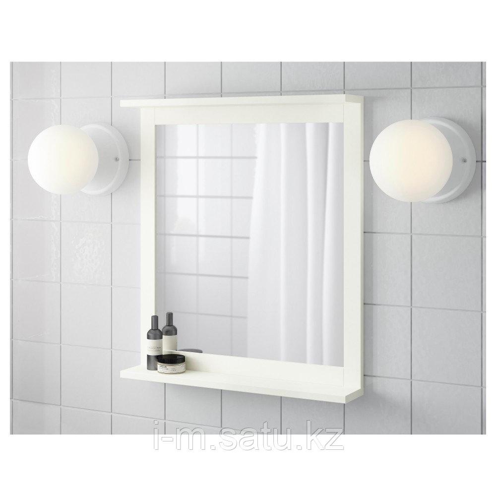 СИЛВЕРОН Зеркало с полкой, белый, 56x64 см