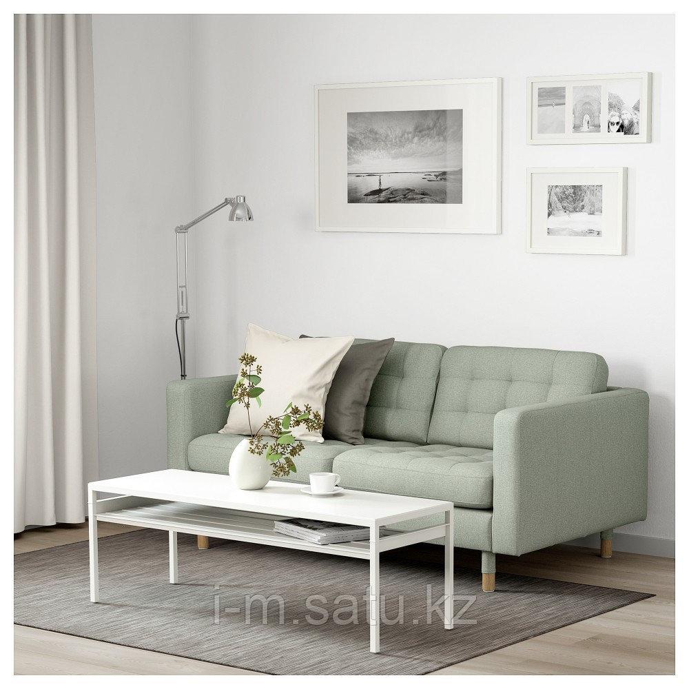 ЛАНДСКРУНА 2-местный диван, Гуннаред светло-зеленый/дерево