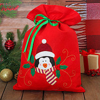 Мешок для подарков «Новогодний пингвин», на завязках