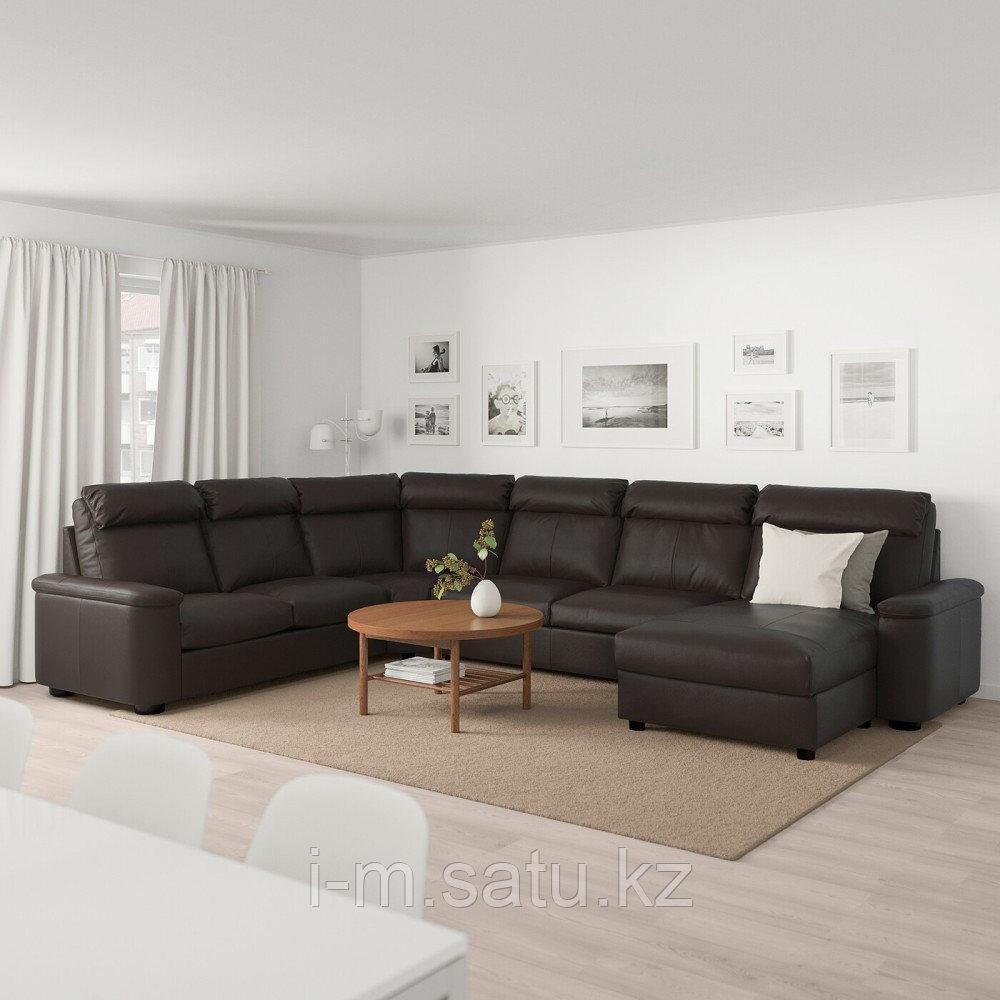 ЛИДГУЛЬТ Угловой диван-кровать, 6-местный, с козеткой, Гранн/Бумстад темно-коричневый