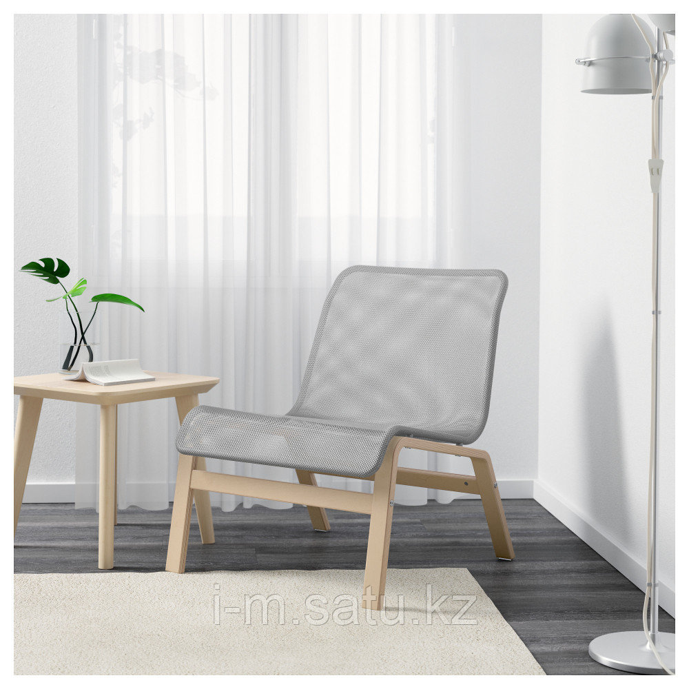 НОЛЬМИРА Кресло, березовый шпон, серый, березовый шпон/серый
