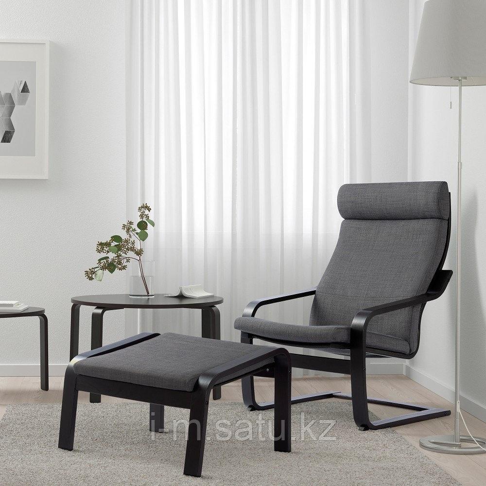 ПОЭНГ Кресло, черно-коричневый, Шифтебу темно-серый, Шифтебу темно-серый черно-коричневый