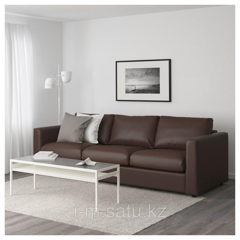 ВИМЛЕ 3-местный диван, Фарста темно-коричневый, Фарста темно-коричневый