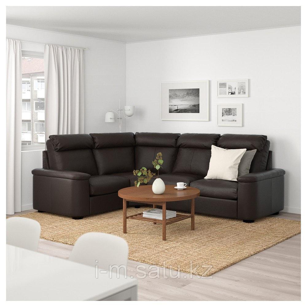 ЛИДГУЛЬТ 4-местный угловой диван, Гранн/Бумстад темно-коричневый, Гранн/Бумстад темно-коричневый