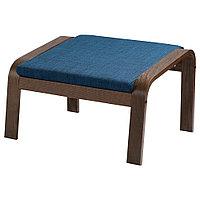 ПОЭНГ Табурет для ног, коричневый, Шифтебу темно-синий, Шифтебу темно-синий коричневый
