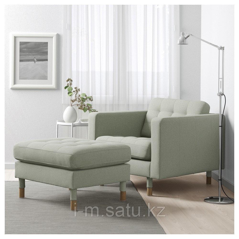 ЛАНДСКРУНА Табурет для ног, Гуннаред светло-зеленый/дерево, Гуннаред светло-зеленый дерево