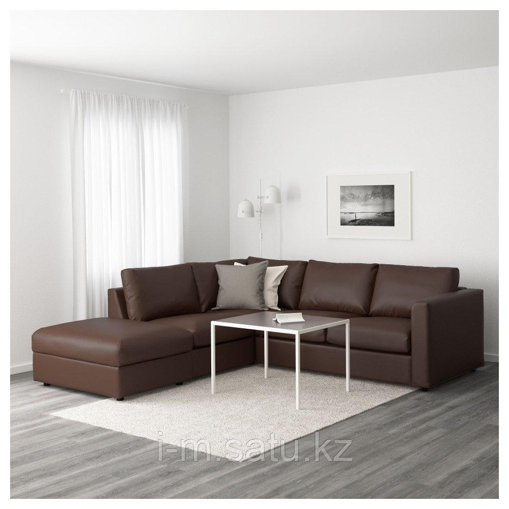 ВИМЛЕ 4-местный угловой диван, с открытым торцом, Фарста темно-коричневый, с открытым торцом/Фарста темно-кори