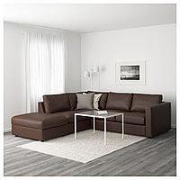 ВИМЛЕ 4-местный угловой диван, с открытым торцом, Фарста темно-коричневый, с открытым торцом/Фарста темно-кори, фото 1