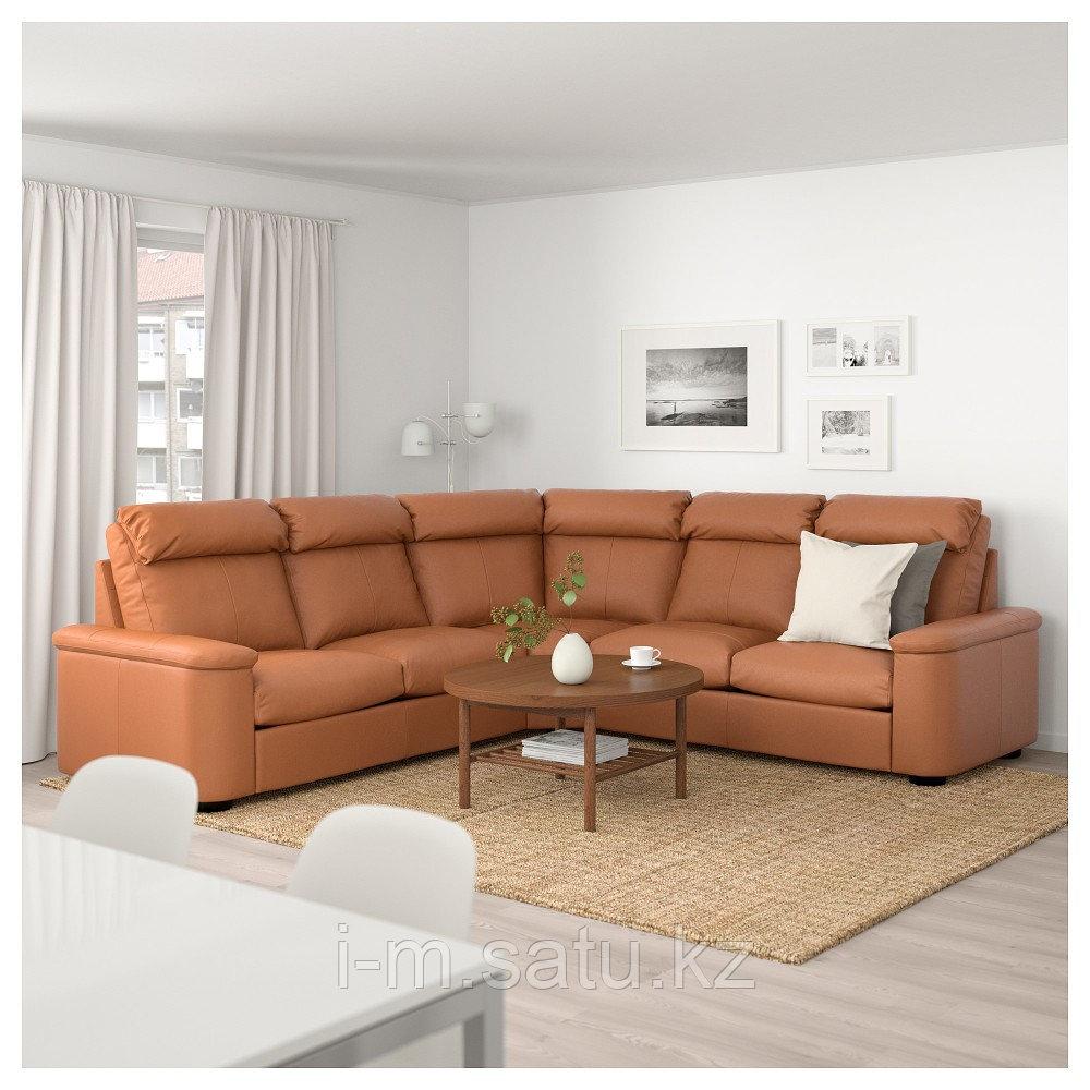 ЛИДГУЛЬТ 5-местный угловой диван, Гранн/Бумстад золотисто-коричневый, Гранн/Бумстад золотисто-коричневый