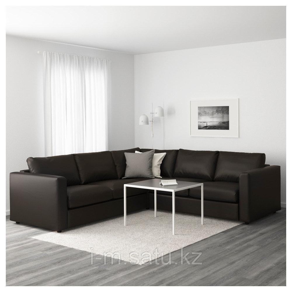 ВИМЛЕ 4-местный угловой диван, Фарста черный, Фарста черный
