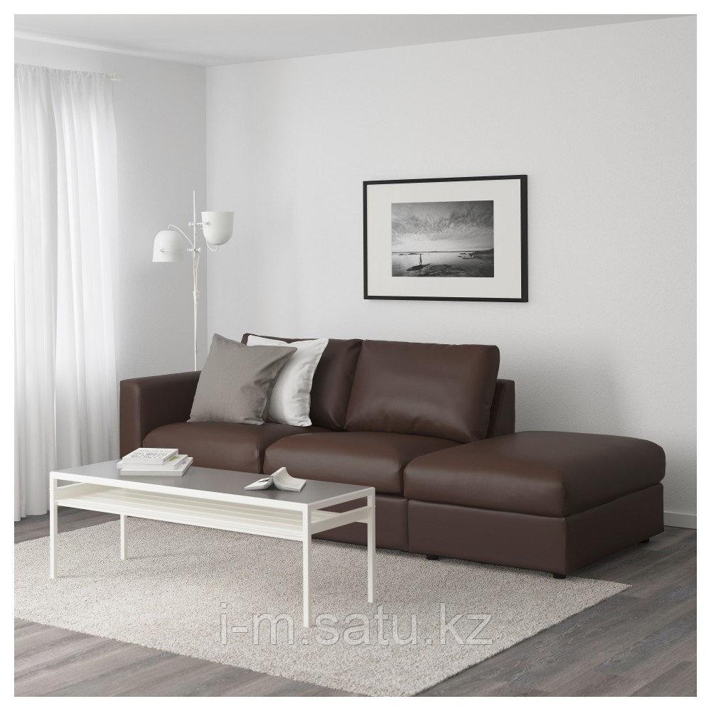 ВИМЛЕ 3-местный диван, с открытым торцом, Фарста темно-коричневый, с открытым торцом/Фарста темно-коричневый