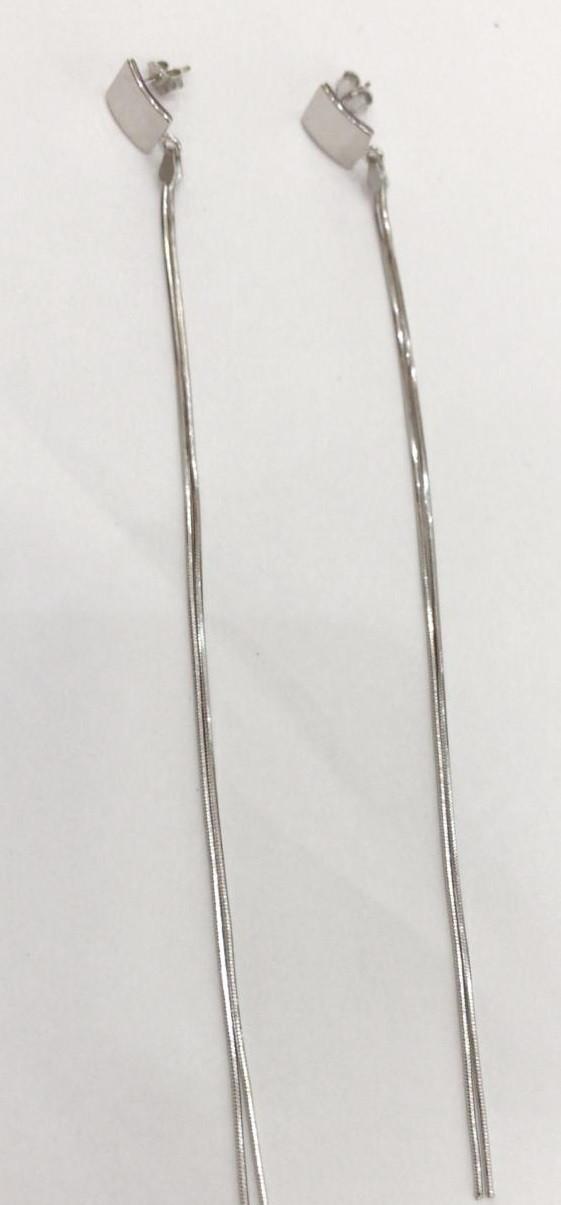Серебряные длинные серьги цепи пусеты (гвоздики). Вес: 4,5 гр, покрытие родий