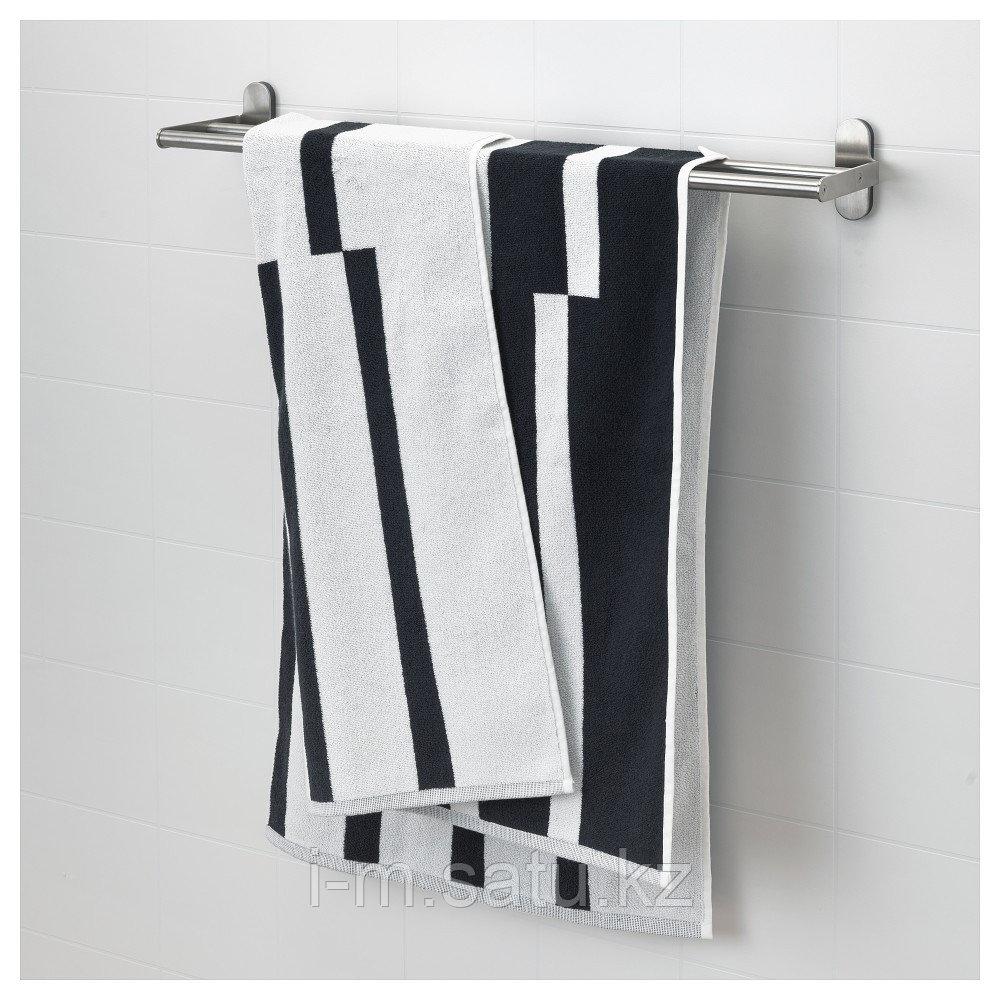 КИННЕН Банное полотенце, белый/черный, 70x140 см