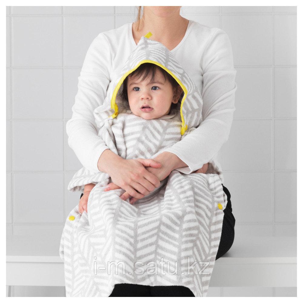 КЛЭММИГ Полотенце с капюшоном, серый, желтый, 60x62 см