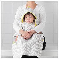 КЛЭММИГ Полотенце с капюшоном, серый, желтый, 60x62 см, фото 1