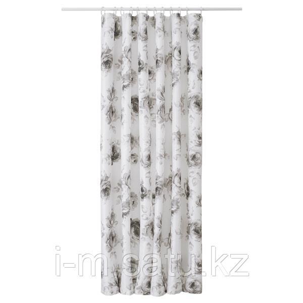 АГГЕРСУНД Штора для ванной, серый, белый, 180x200 см