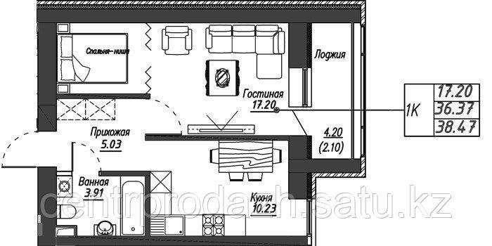 1 комнатная квартира в ЖК Варшава 38.47 м²