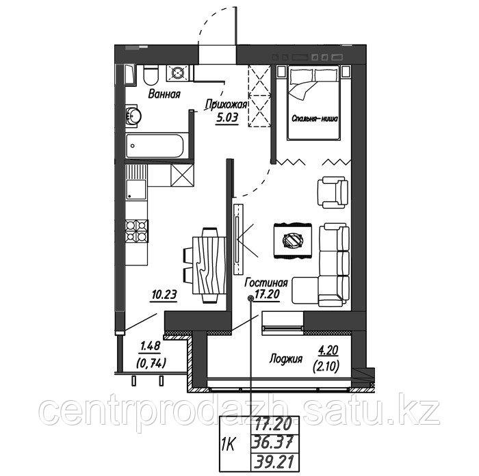 1 комнатная квартира в ЖК Варшава 39.21 м²