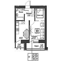 1 комнатная квартира в ЖК Варшава 39.21 м², фото 1