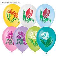 """Шар латексный 12"""" «Тюльпаны», пастель, 1-сторонний, набор 25 шт., МИКС"""