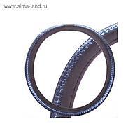 Оплетка кожаная, L черная Skyway, с синей вставкой