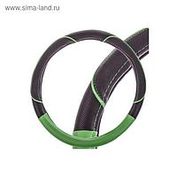 Оплетка Skyway, экокожа, размер M, чёрная, с зеленой вставкой и полоской