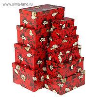 """Набор коробок 10в1 """"Белый шиповник"""" 30,5 х 20 х 13 - 12 х 6,5 х 4 см"""