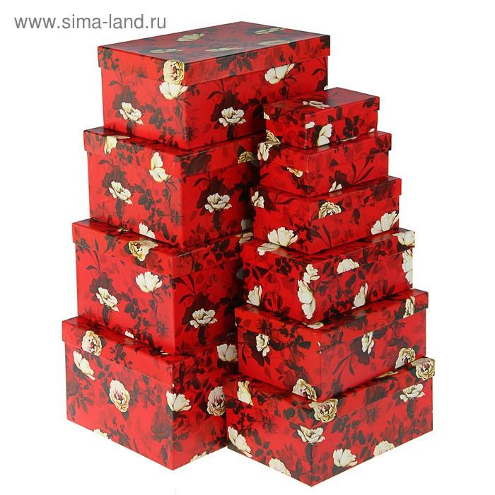 "Набор коробок 10в1 ""Белый шиповник"" 30,5 х 20 х 13 - 12 х 6,5 х 4 см - фото 1"