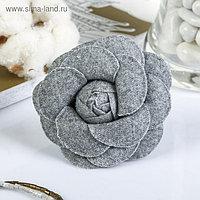 """Декор для творчества войлок """"Королевская роза"""" серый (набор 2 шт) 6,5х6,5 см"""