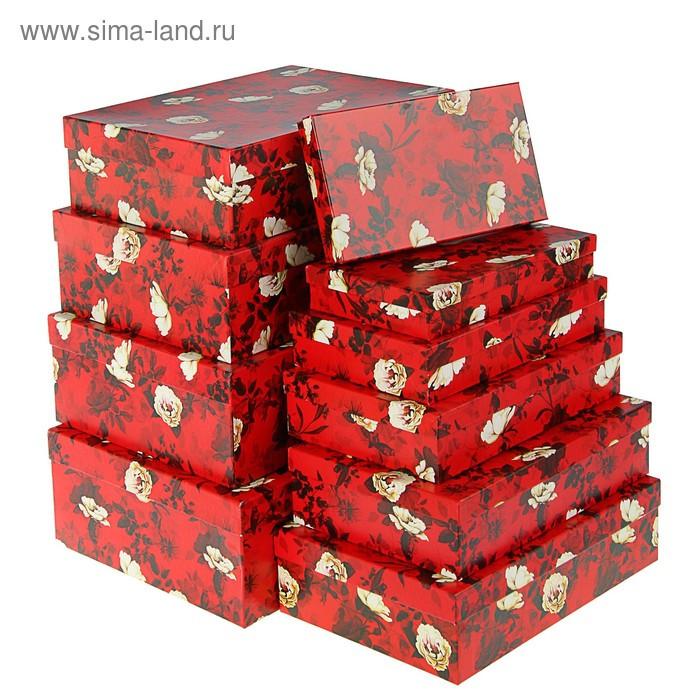"Набор коробок 10 в 1 ""Белый шиповник"", 36,5 х 26,5 х 12 - 23 х 13 х 3 см - фото 1"