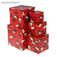 """Набор коробок 5в1 """"Белый шиповник"""" 22,5 х 22,5 х 22,5 - 9,5 х 9,5 х 9,5 см"""