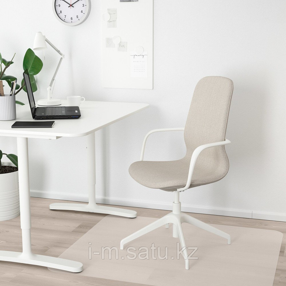 ЛОНГФЬЕЛЛЬ Рабочий стул с подлокотниками, Гуннаред бежевый, белый