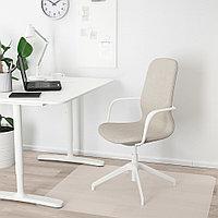 ЛОНГФЬЕЛЛЬ Рабочий стул с подлокотниками, Гуннаред бежевый, белый, фото 1