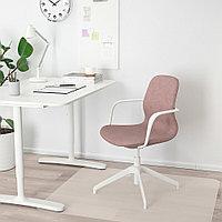 ЛОНГФЬЕЛЛЬ Рабочий стул с подлокотниками, Гуннаред светлый коричнево-розовый, белый