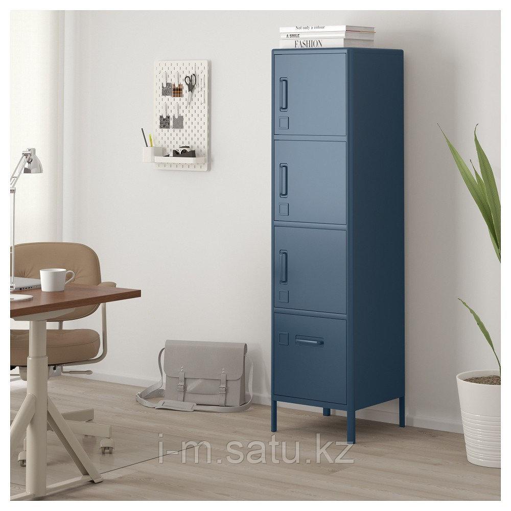 ИДОСЕН Высокий шкаф с ящиком и дверцами, синий, синий 45x172 см
