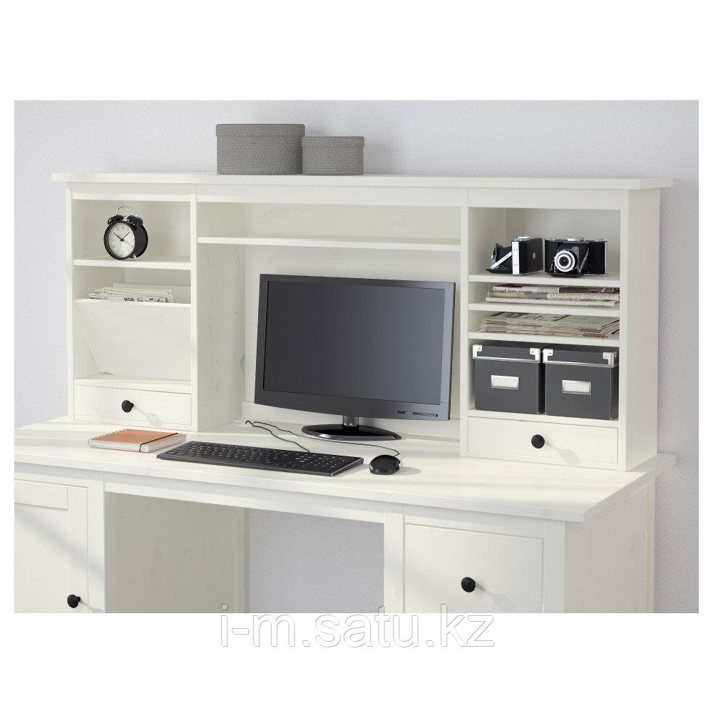 ХЕМНЭС Дополнительный модуль для стола, белая морилка, белая морилка 152x63 см