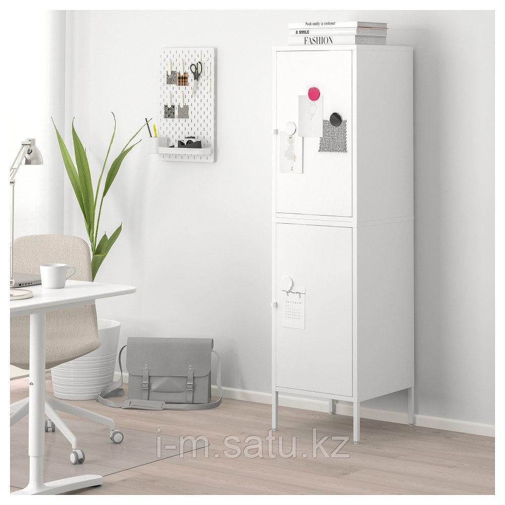ХЭЛЛАН Комбинация для хранения с дверцами, белый, белый 45x47x167 см