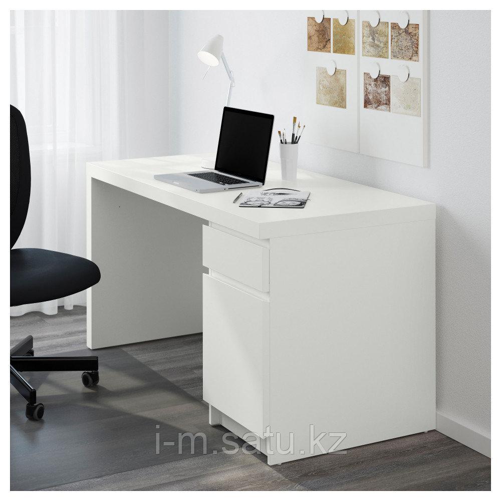 МАЛЬМ Письменный стол, белый, белый 140x65 см