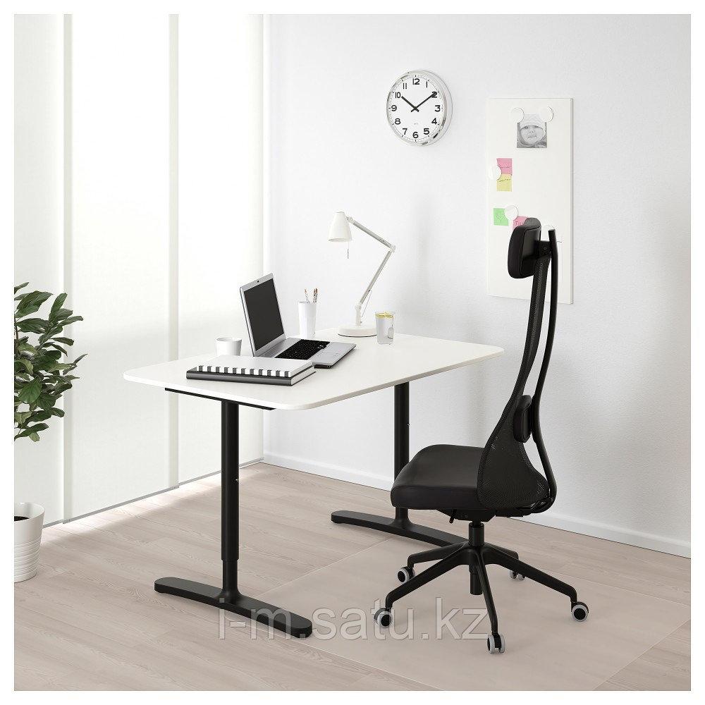 БЕКАНТ Письменный стол, белый, черный, белый/черный 120x80 см